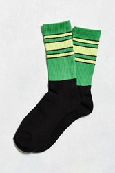 Urban Outfitters Striped Colorblock Sock Bright Green