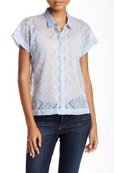 The Kooples Eyelet And Drop Stitch Crinkled Chiffon Blouse Blue