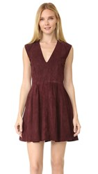 Theperfext Rosie Suede Shift Dress Burgundy