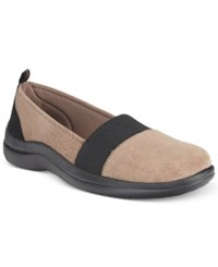 Easy Street Shoes Lovey Flats Women's Taupe Suede