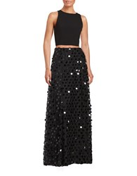 Aidan Mattox Crepe Cropped Top And Embellished Skirt Set Black
