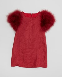 Charabia Feather Sleeve Party Dress Red