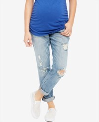 Motherhood Indigo Blue Maternity Distressed Light Wash Boyfriend Jeans