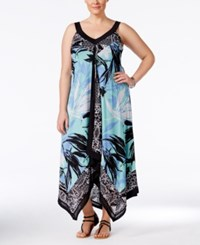 Styleandco. Style And Co. Plus Size Mixed Print Handkerchief Hem Maxi Dress Only At Macy's Serene Scarf