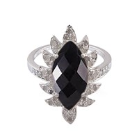 Meghna Jewels Marquise Claw Ringblack Onyx And Diamond Ring