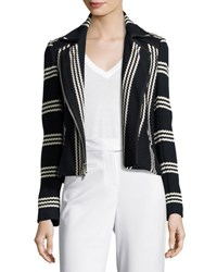 Veronica Beard Bailey Striped Cotton Moto Jacket Navy White Navy White