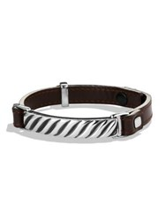 David Yurman Modern Cable Id Leather Bracelet Brown Silver
