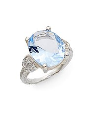 Judith Ripka Classic Oval Blue Quartz And Diamond Ring Silver Blue