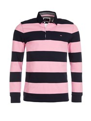 Eden Park Striped Cotton Rugby Shirt Pink