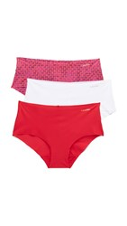 Calvin Klein Underwear Invisibles Hipster Briefs 3 Pack Frosted Geo White Regal Red