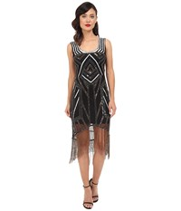 Unique Vintage Deco Beaded Marceline Fringe Flapper Dress Black Silver Women's Dress