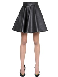 Msgm Flared Faux Leather Skirt Black