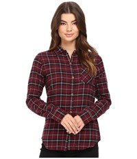 Burton Grace L S Woven Sangria Haze Plaid Women's Long Sleeve Button Up Brown