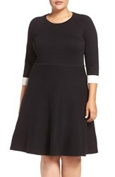 Vince Camuto Plus Size Women's Fit And Flare Sweater Dress Rich Black