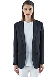Saint Laurent One Button Gabardine Tuxedo Jacket Black