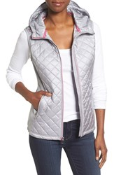 Michael Michael Kors Women's Mixed Media Hooded Front Zip Vest Silver