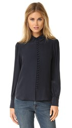 Frame Victorian Button Up Blouse Navy