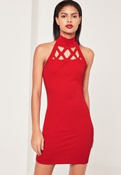 Missguided Red Laser Cut Out Halterneck Bodycon Dress