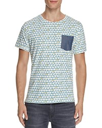 Random Access Blue Waves Yellow Fish Tee Compare At 28 White