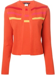 John Galliano Vintage Striped Knit Suit Yellow And Orange