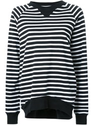 Bassike Raglan Sleeve Striped Sweatshirt Black