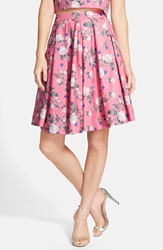 Erin Fetherston 'Josephine' Floral Print Pleated A Line Skirt Poppy Pink