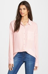 Junior Women's Frenchi Spread Collar Shirt Pink Hush