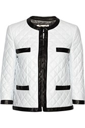 Moschino Quilted Leather Jacket White
