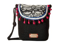 Sakroots Artist Circle Crochet Flap Crossbody Black White One World Cross Body Handbags Beige