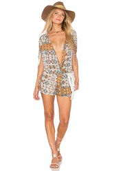 Bcbgeneration Mosaic Print Romper Orange