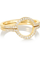 Ileana Makri Circle Set Of Two 18 Karat Gold Diamond Rings
