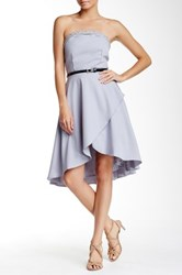 Little Mistress Strapless Embellished Bandeau Hi Lo Dress Gray