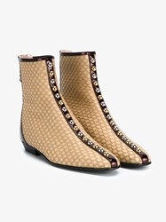 J.W.Anderson Leather And Patent Leather Stud Ankle Boots Brown Multi Coloured Almond Silver Burgundy T