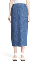 Eskandar Cotton And Linen Denim Skirt