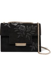 Aerin Embroidered Suede Shoulder Bag Black