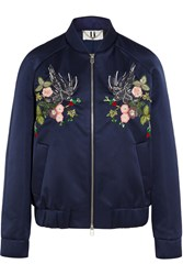 Topshop Unique Ebury Embroidered Satin Bomber Jacket Navy