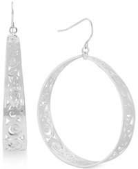 Touch Of Silver Cutout Hoop Earrings In Silver Plating