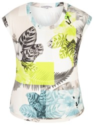 Chesca Fern And Floral Jersey Top Turquoise Lime