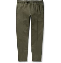 Valentino Slim Fit Drawstring Cotton Twill Trousers Green