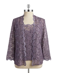 Alex Evenings Plus Floral Lace 2 Piece Cardigan Set Icy Orchid