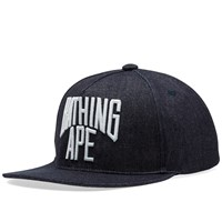 A Bathing Ape Nyc Logo Denim Snapback Cap Blue