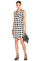 Jenni Kayne Printed Plaid Placket Dress In Black White Checkered And Plaid