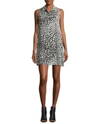 Equipment Mina Sleeveless Cheetah Print Silk Shirtdress Nature White True Black White Black