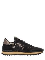 Valentino Rockstud Lace And Suede Sneakers