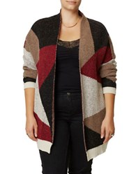 Junarose Plus Colorblock Wool Blend Cardigan Red