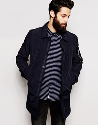 Asos Lightweight Trench Coat With Ma1 Pocket In Navy