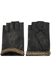 Karl Lagerfeld Chain Embellished Leather Fingerless Gloves