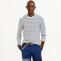 J.Crew Long Sleeve Textured Cotton Tee In Mountain Stripe
