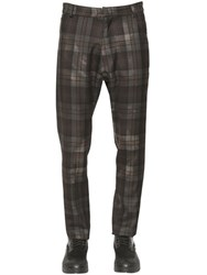 Antonio Marras Plaid Printed Wool Gabardine Pants