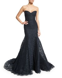 Monique Lhuillier Strapless Corded Lace Trumpet Gown Midnight